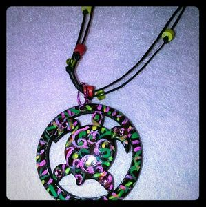 Necklace vegan coconut shell turtle